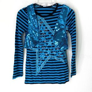KnitWorks 2-piece Sequin Vest LS Tee Striped Stars